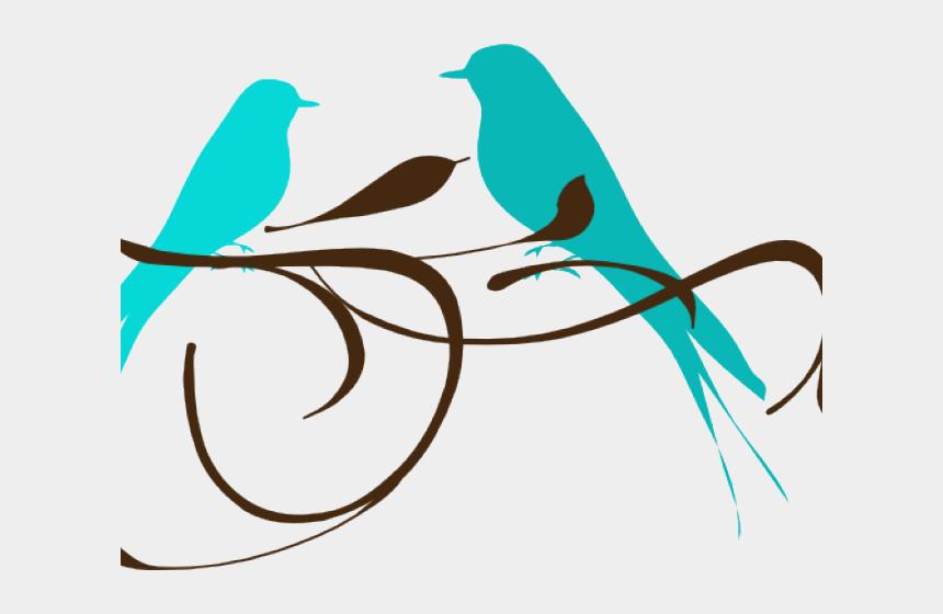 bird clip art, Cartoons - Love Birds Clipart Teal Love Birds - Love Birds Black And White