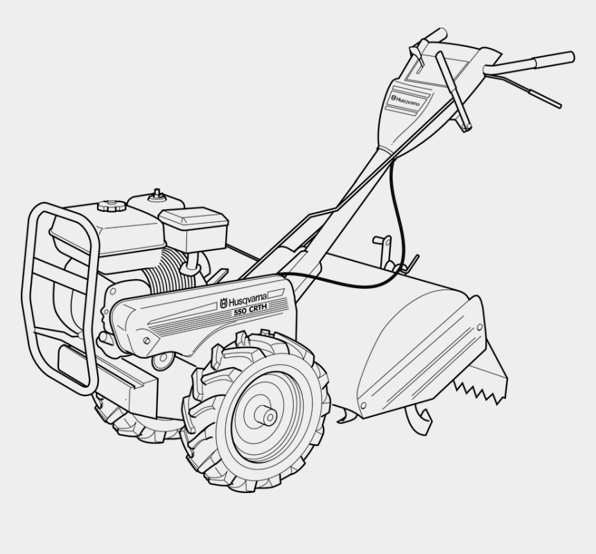 lawn mower clip art, Cartoons - Lawn, Mower, Mechanical, Machine - Hand Tractor Black And White