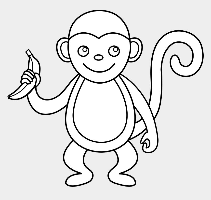 monkey clip art, Cartoons - Cute Monkey Line Art - Art Monkey