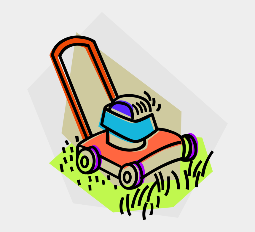 lawn mower clip art, Cartoons - Vector Illustration Of Yard Work Lawn Mower Cuts Grass - Mowing Grass Black And White Clipart