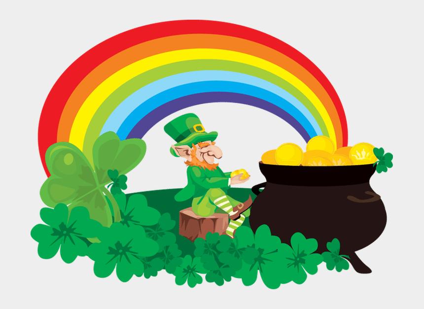 rainbow clip art, Cartoons - Pot Of Gold At End Of Rainbow - St Patrick Day Rainbow Pot Of Gold