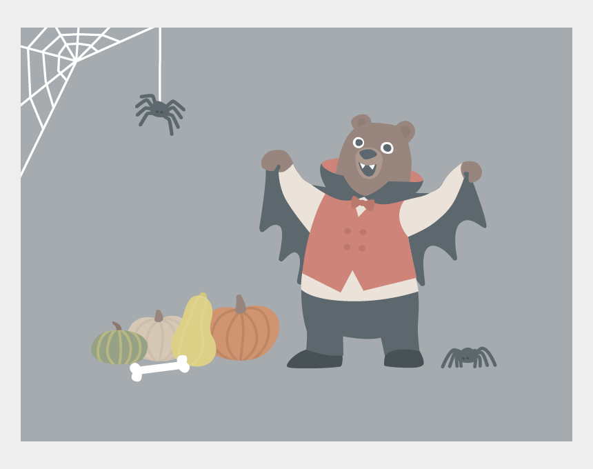 happy halloween clip art, Cartoons - Happy Halloween Bear Bone Pumpkins Pumpkin Spiderweb - Illustration