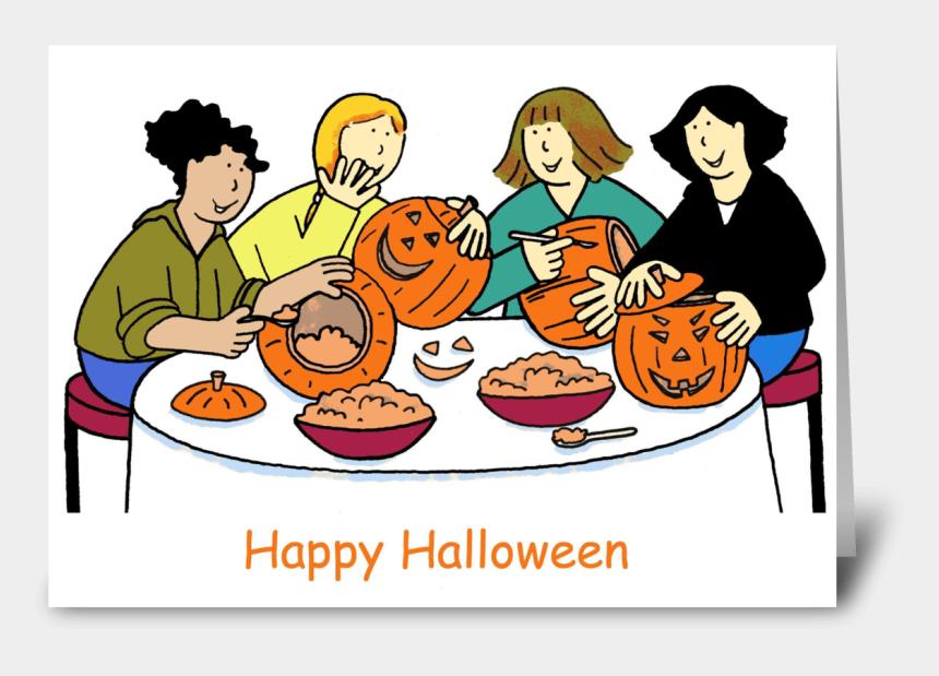 happy halloween clip art, Cartoons - Girls Carving Pumpkins, Happy Halloween - Happy Birthday