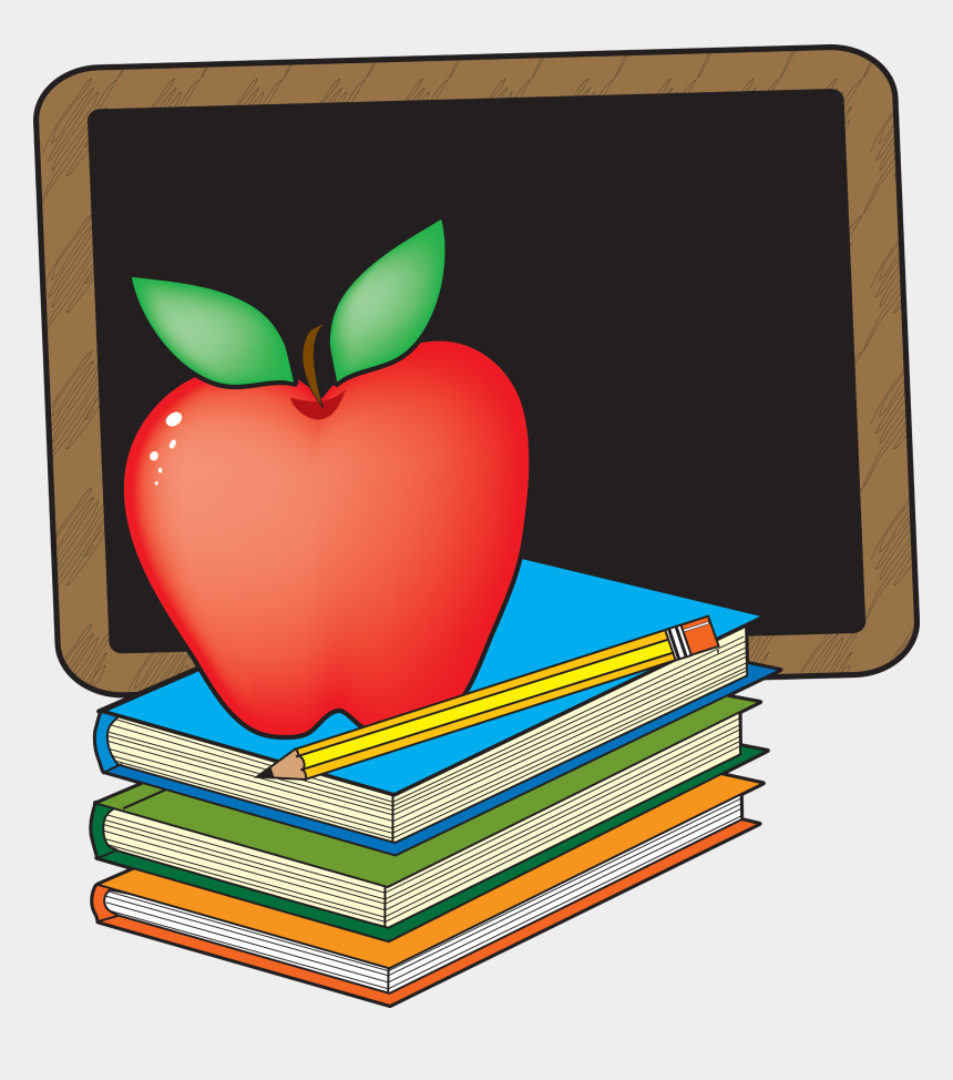 clip art school, Cartoons - Clipart School Books - Apple And Chalkboard Clipart