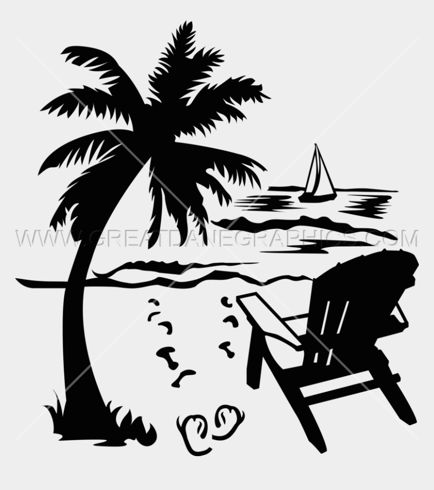palm trees clipart, Cartoons - Palm Tree Beach Drawing At Getdrawings - Beach Chair Clipart Bw