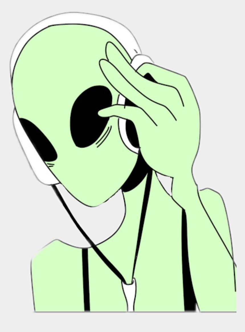 girl listening to music clipart, Cartoons - Tumblr Sotumblr Aliens Alien Green Girls Kawaii Music - Alien Music