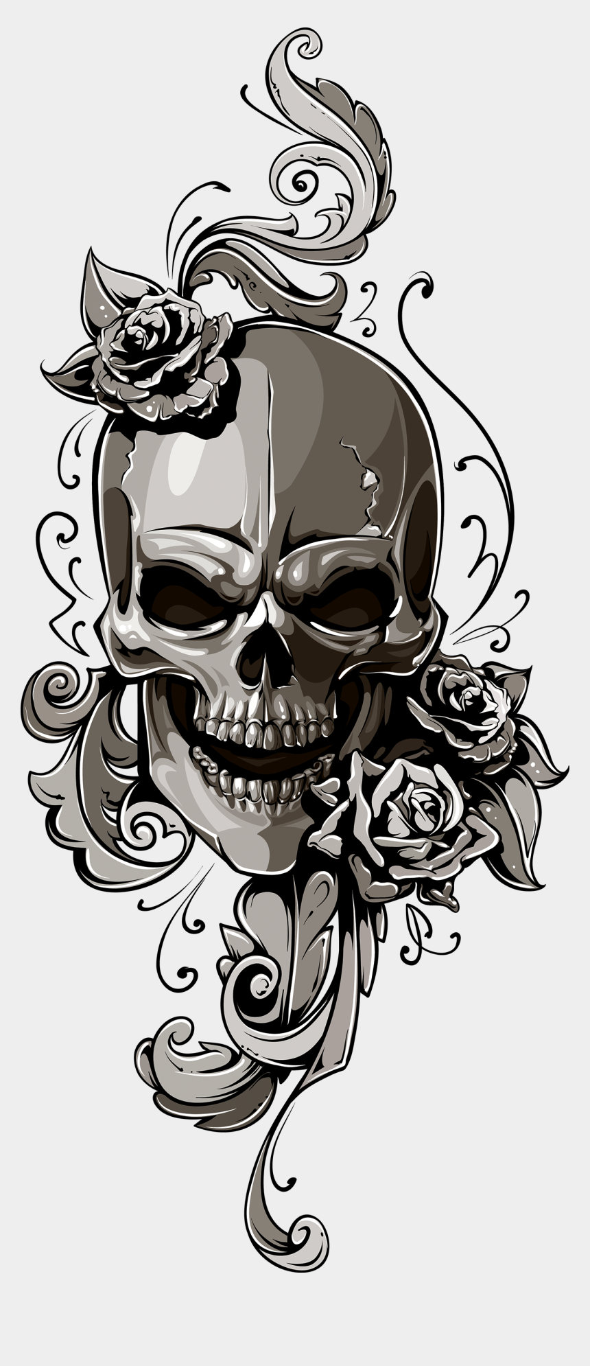 human head clipart, Cartoons - School Old Skull Human Symbolism Clipart - Tattoo Skull Old School