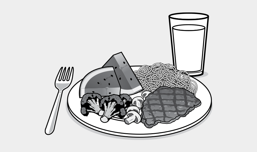grains food group clipart, Cartoons - Americans Promotes The Importance Of A Healthy Eating - Plate Of Food Black And White
