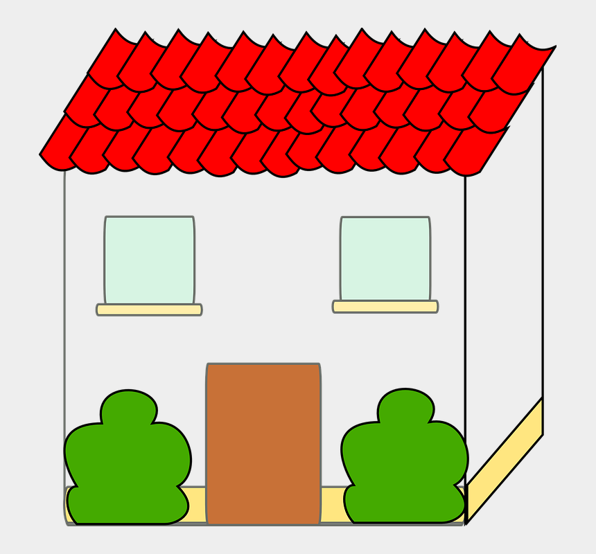 suburban neighborhood clipart, Cartoons - House With Red Roof Clipart