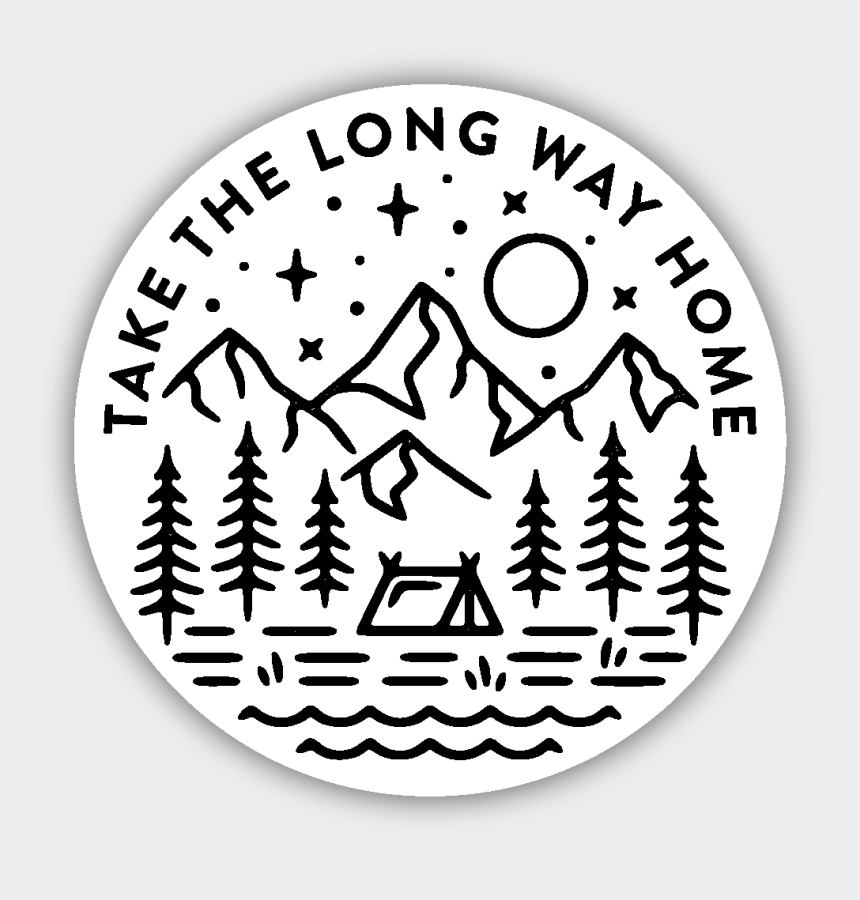 fern clipart black and white, Cartoons - Take The Long Way Home Sticker