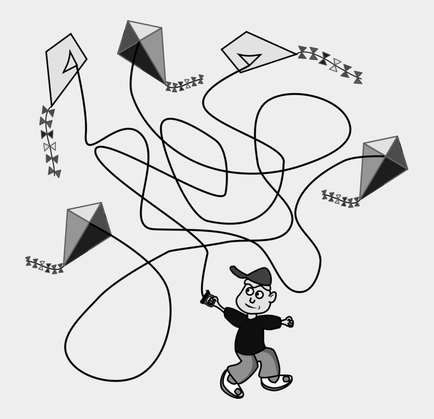 kite clipart black and white, Cartoons - Drawing Line Art Computer Icons Download Black And - Clip Art