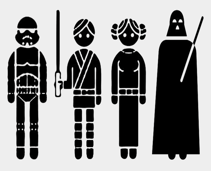 wall clipart black and white, Cartoons - Star Wars Wall Art Tatertots Jello Rightclick Ⓒ - Outline Of Star Wars Characters