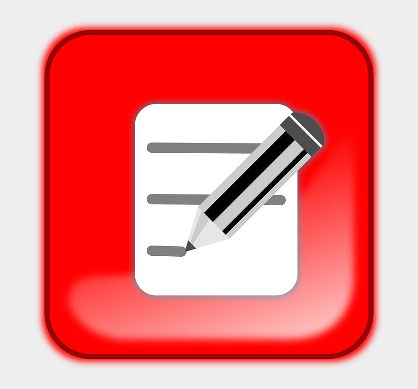 notebook and pencil clipart, Cartoons - Bloc Button Edit Notebook Pencil Write Red - Edit Button