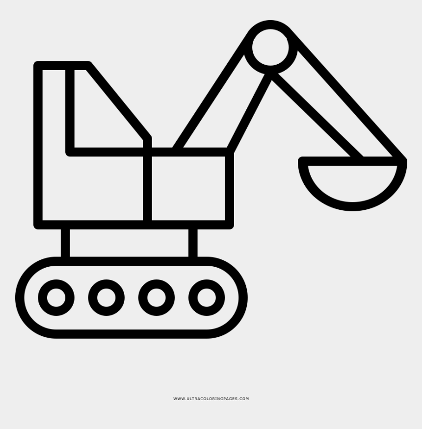 black and white backhoe clipart, Cartoons - Backhoe Coloring Page - Line Art