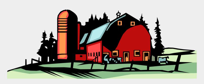 grain clipart, Cartoons - Vector Illustration Of Farm Red Barn With Grain Harvest - Farm Vector