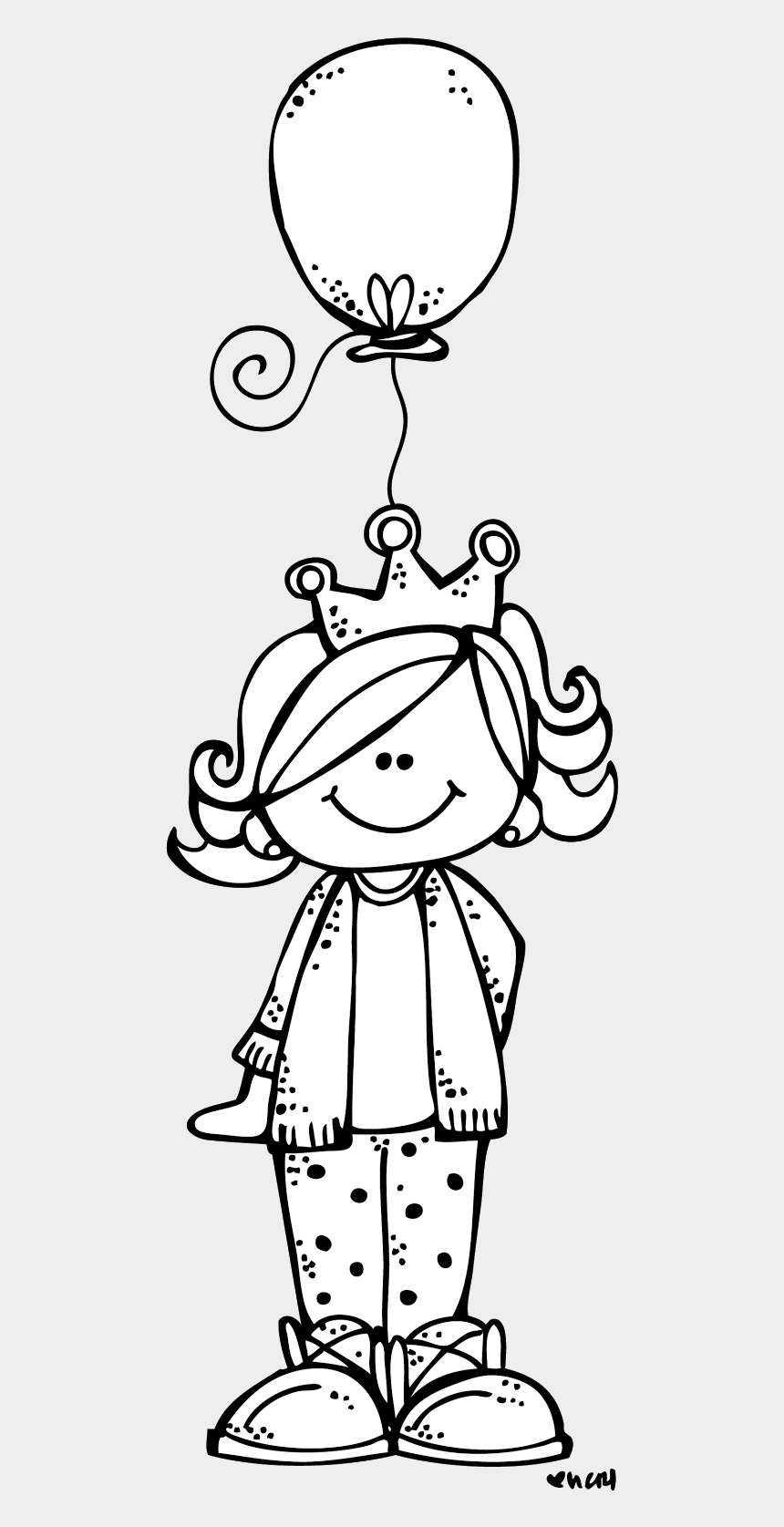 party clipart black and white, Cartoons - Melonheadz Illustrating Birthday Week Day Coloring - Birthday Girl Clipart Black And White