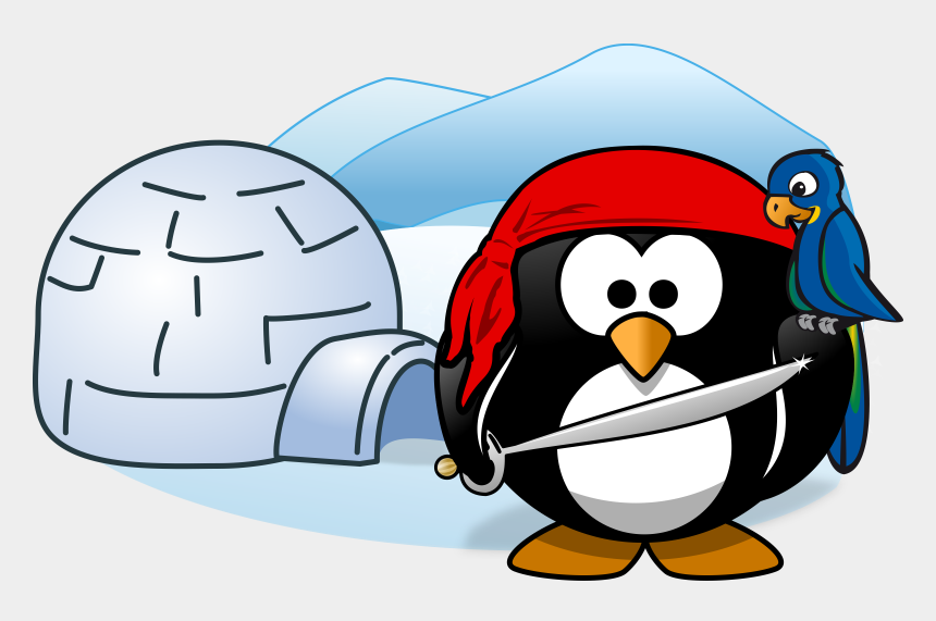 igloo clipart black and white, Cartoons - Pirate, Tux, Animal, Bird, Cold, Ice, Igloo, Parrot - Antarctica Clipart