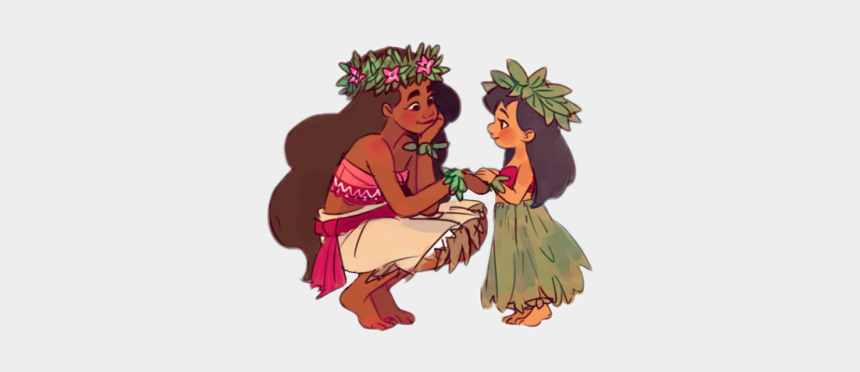 tropical island clipart, Cartoons - Moana Lilo Liloandstitch Disney Disneyworld Disneyland - Hula Lilo And Stitch And Moana