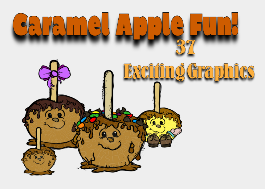 caramel apple clipart, Cartoons - Fun Caramel Apple Clip Art Created By Rz Alexander,