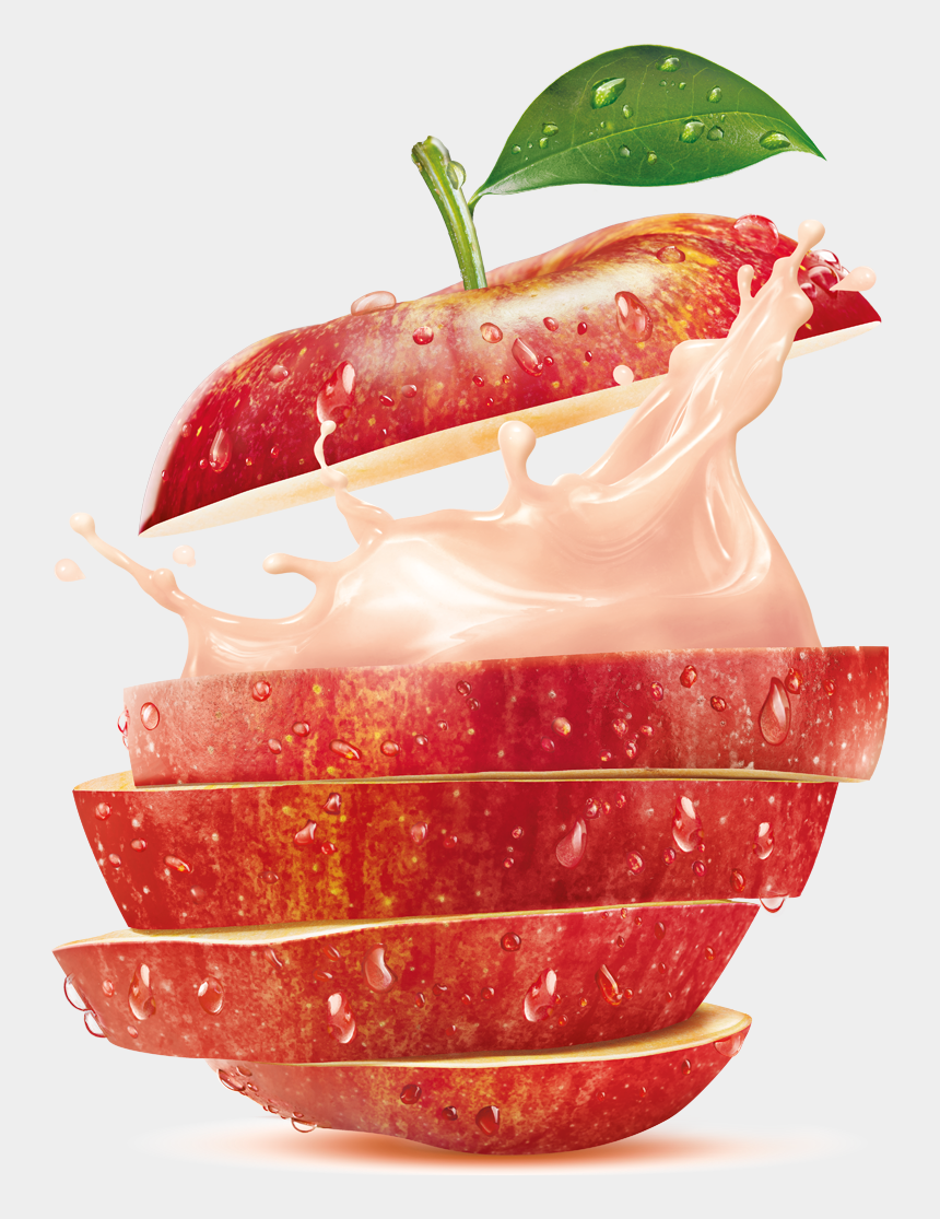 apple juice clipart, Cartoons - Soy Juice Mixed With Fruits, Packaging Design By Yellow - Water Splash Fruits Png