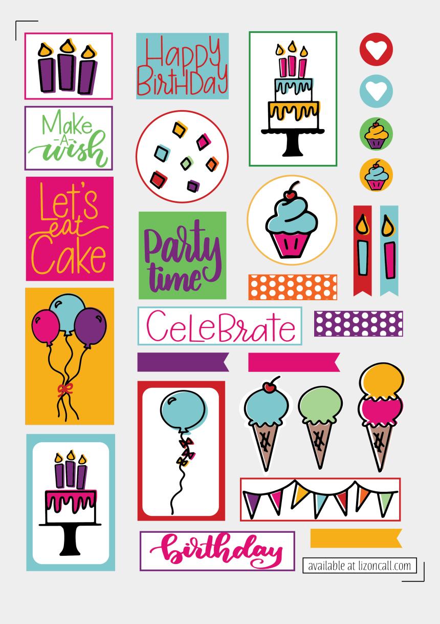 birthday clipart free printable, Cartoons - Free Birthday Planner Stickers - Printable Happy Birthday Stickers