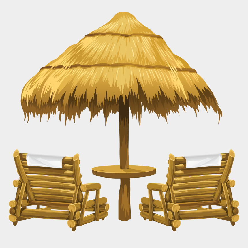 beach background clipart, Cartoons - Beach Clipart, Summer Clipart, Tiki Umbrella, Umbrella - Deck Chairs On Beach