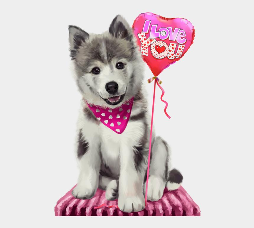 funny animal clipart, Cartoons - 6090083 Funnyhusky1 - Husky Puppy With Heart