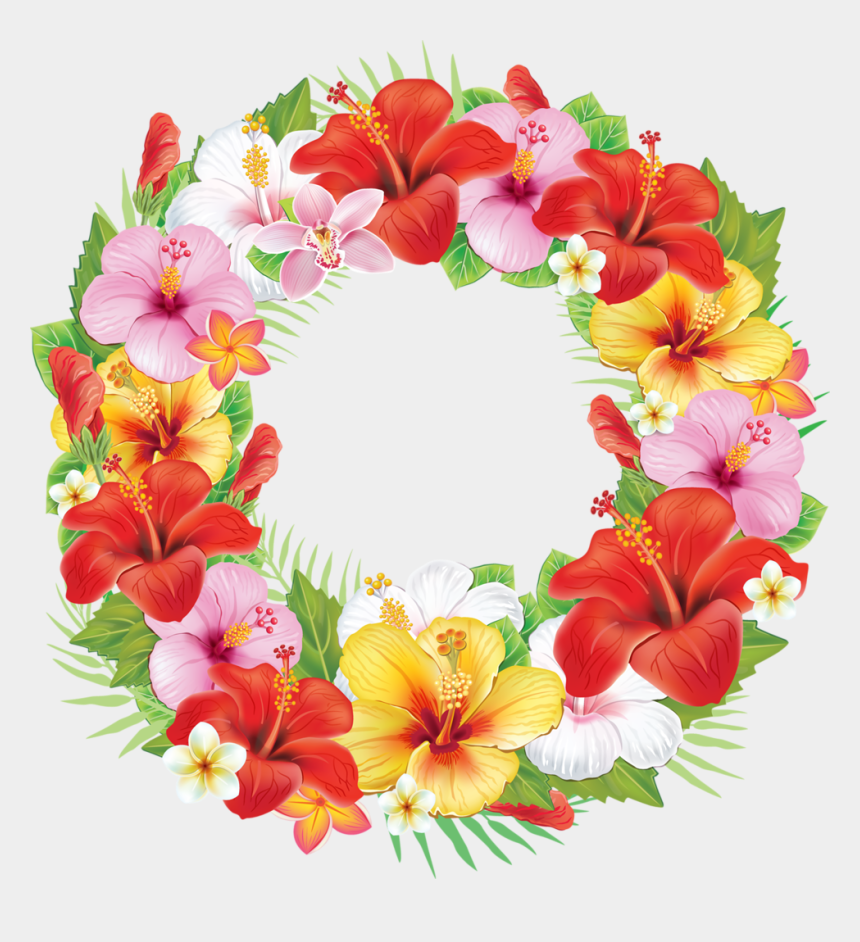 floral wreath clipart, Cartoons - Tropical Wreath Png - Wreath Of Flowers Clipart