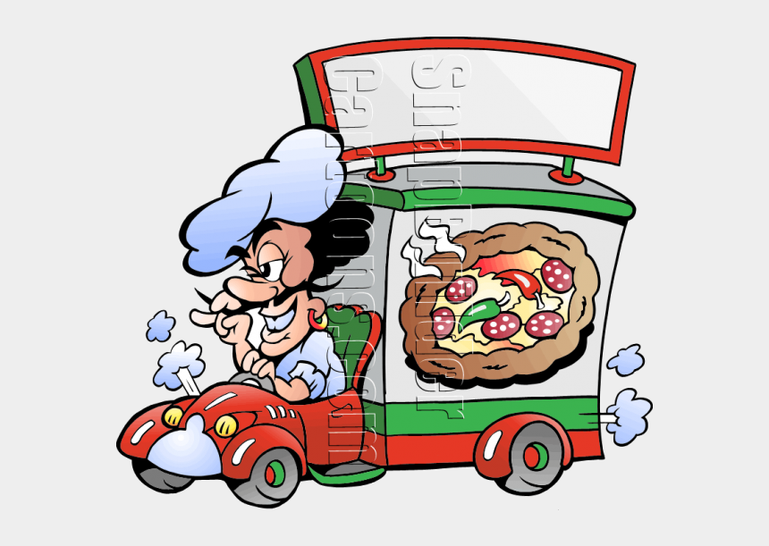 delivery truck clipart, Cartoons - Pizza Chef Deliver Pizza - Food Trucks For Schools Project