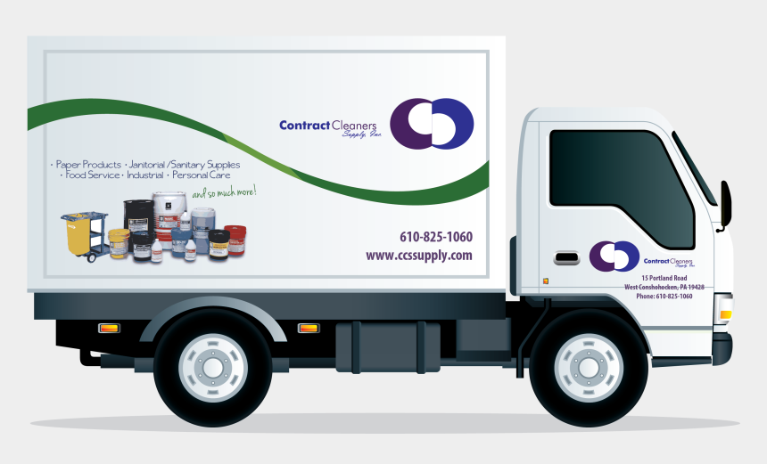 delivery truck clipart, Cartoons - Contract Cleaners Supply Delivery - Truck Vector