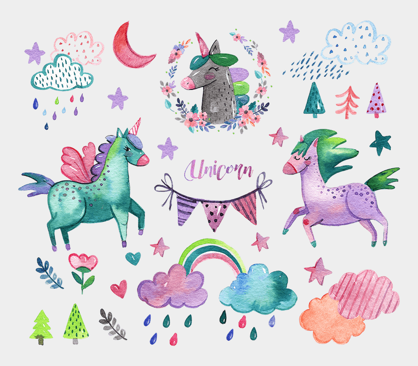 watercolour clipart, Cartoons - Watercolor Unicorn Elements Png Psd K589 - Baby Shower Invitations Girl Unicorn