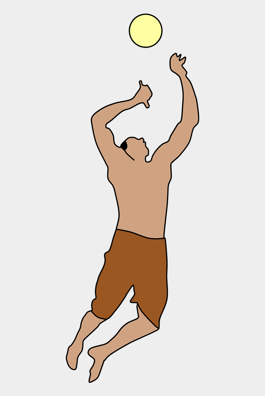 volleyball player clipart, Cartoons - Volleyball Jumping Air Free Picture - People Playing Volleyball Png