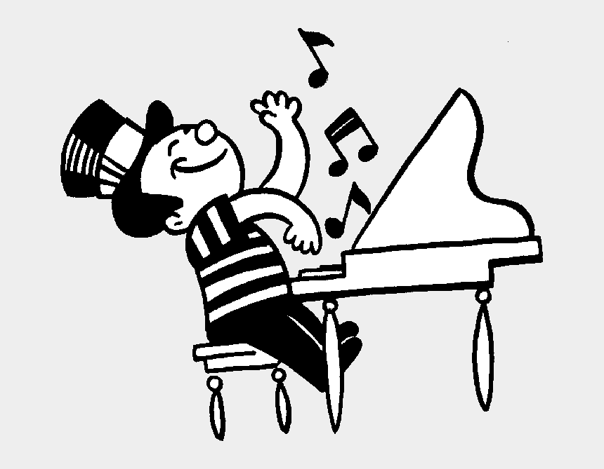 music class clipart, Cartoons - Sheet Music Clipart Black And White - Play Piano Clipart Black And White
