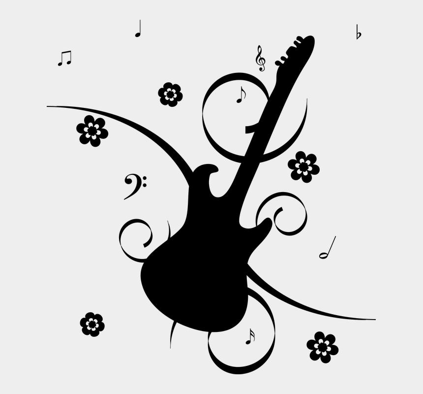 clipart note de musique, Cartoons - Floral Flowers Guitar Musical Notes Silhouette - Music Note Cool Png