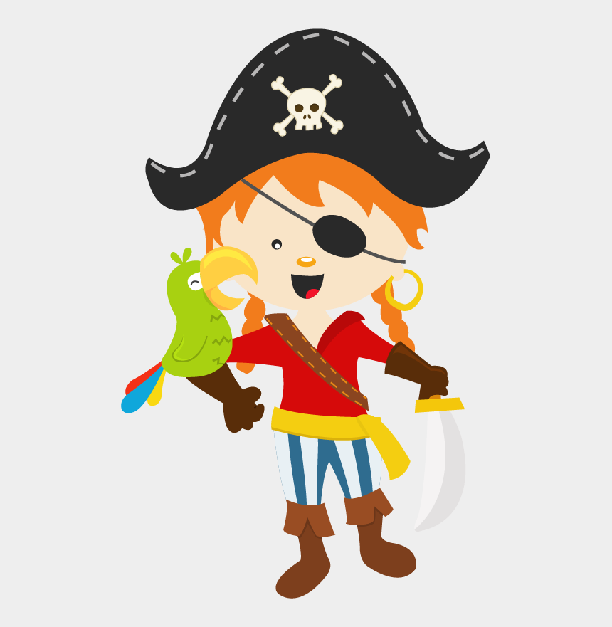 pirate map clipart, Cartoons - Pirate Kid Parrot - Illustration