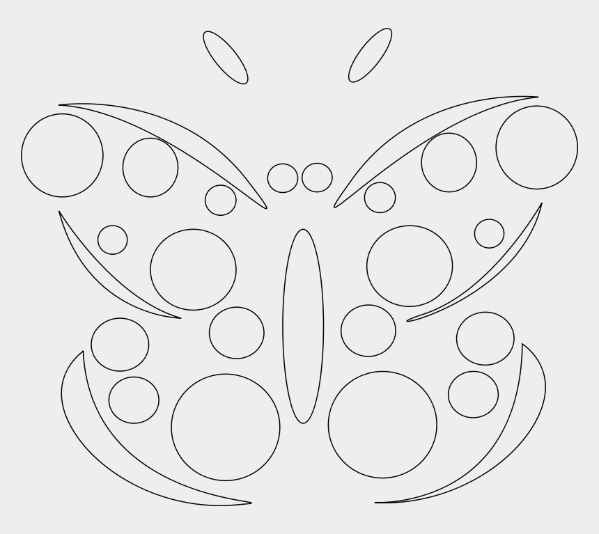 free butterfly clipart black and white, Cartoons - Draw A Butterfly With Geometric Shapes