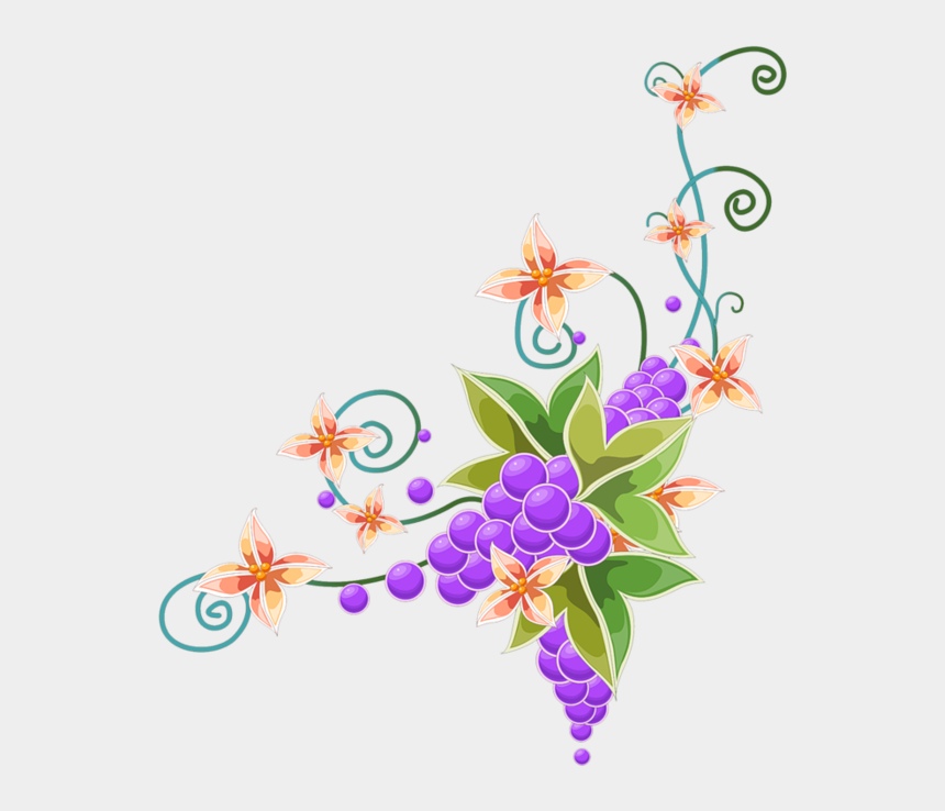 purple butterfly clipart, Cartoons - Flower Wall Mural - Border Corner Butterfly Design