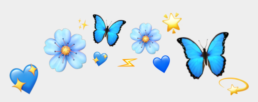 blue butterfly clipart, Cartoons - #butterfly #blue #emoji #heart #shine #lightning #tumblr - Blue Butterfly Emoji