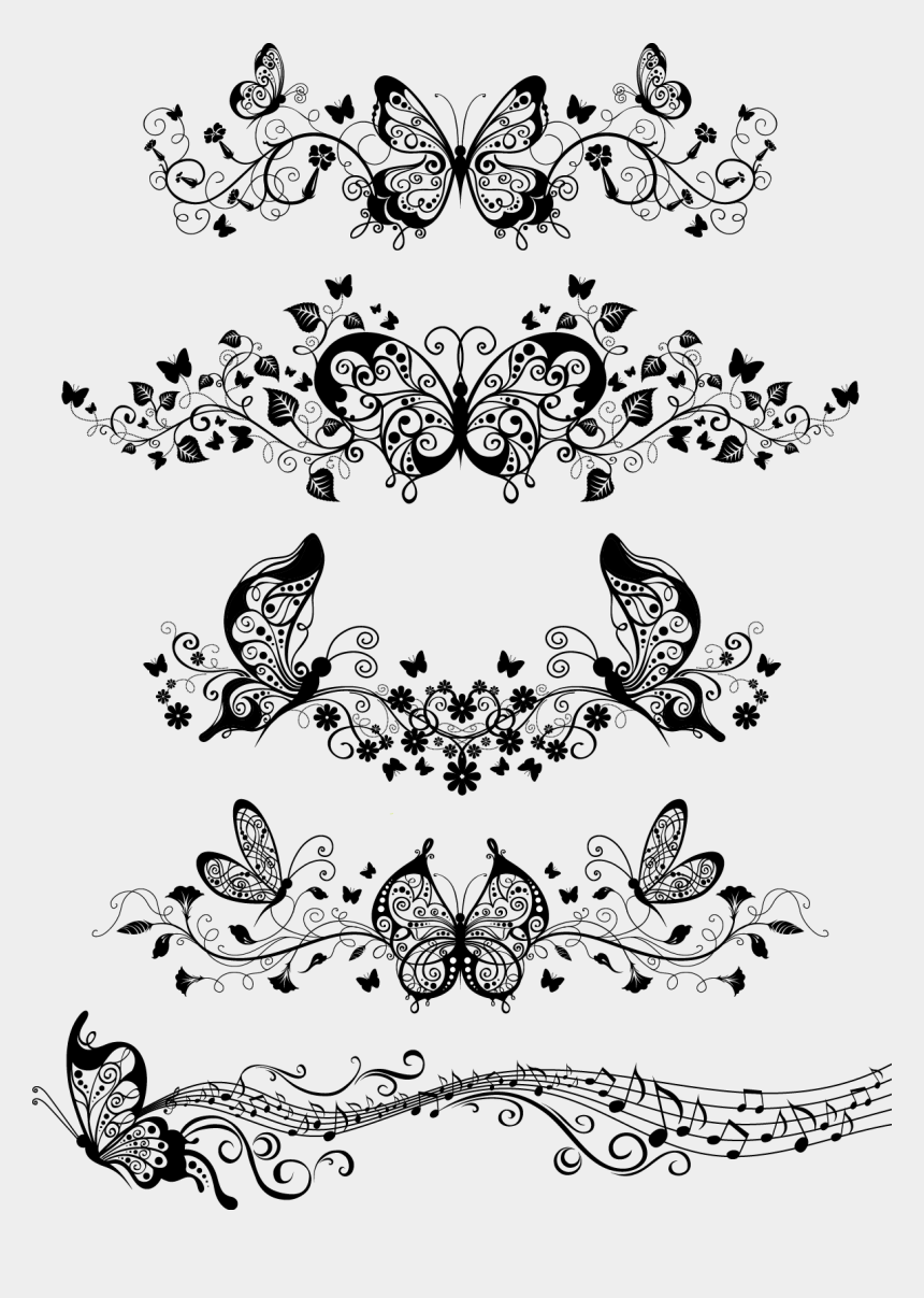 butterfly outline clipart, Cartoons - Floral With Butterflies Vector - Butterfly Ornaments Vector