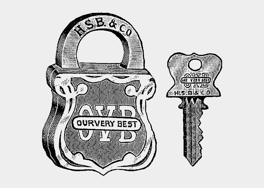 lock and key clipart, Cartoons - Digital Stamp Design - Lock Vintage Illustration