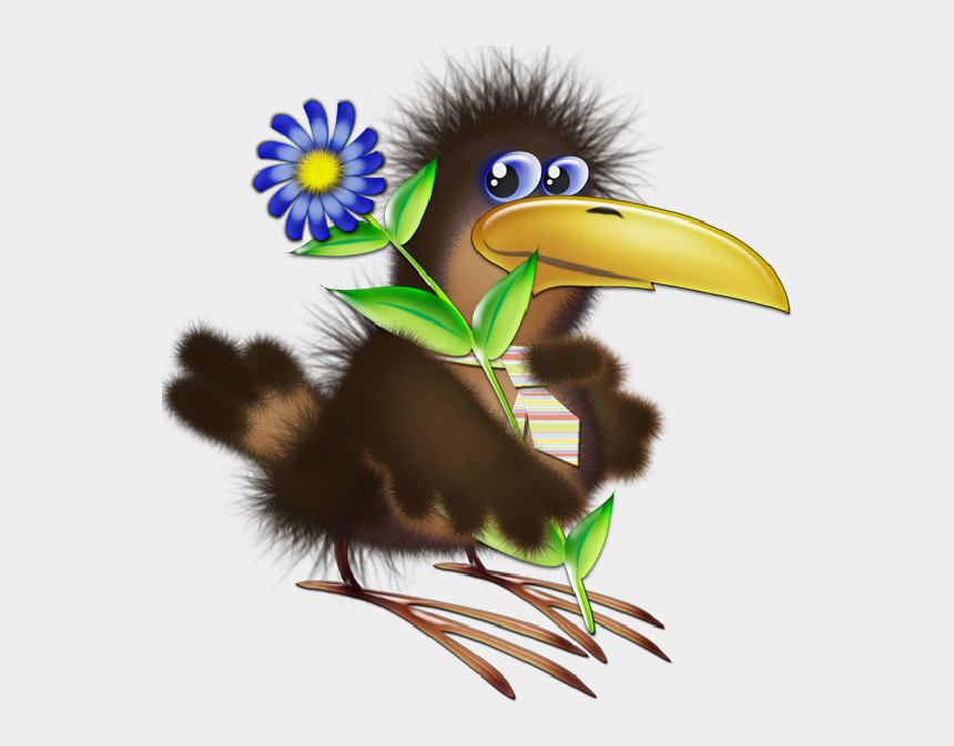 clipart of a bird, Cartoons - Birds With Flower - Animated Birds And Flower