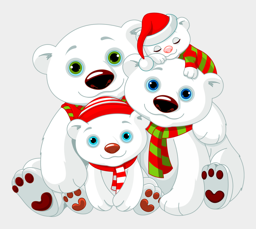 bear clip art, Cartoons - Winter Wonderland Penguin Polar Bear Snowflake Clipart - Christmas Polar Bear Clipart