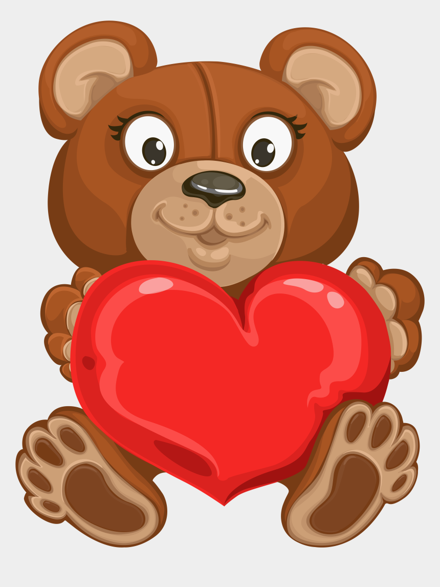 teddy bear clipart, Cartoons - Valentine's Teddy With Heart Transparent Png Clip Art - Teddy With A Heart Transparent Background