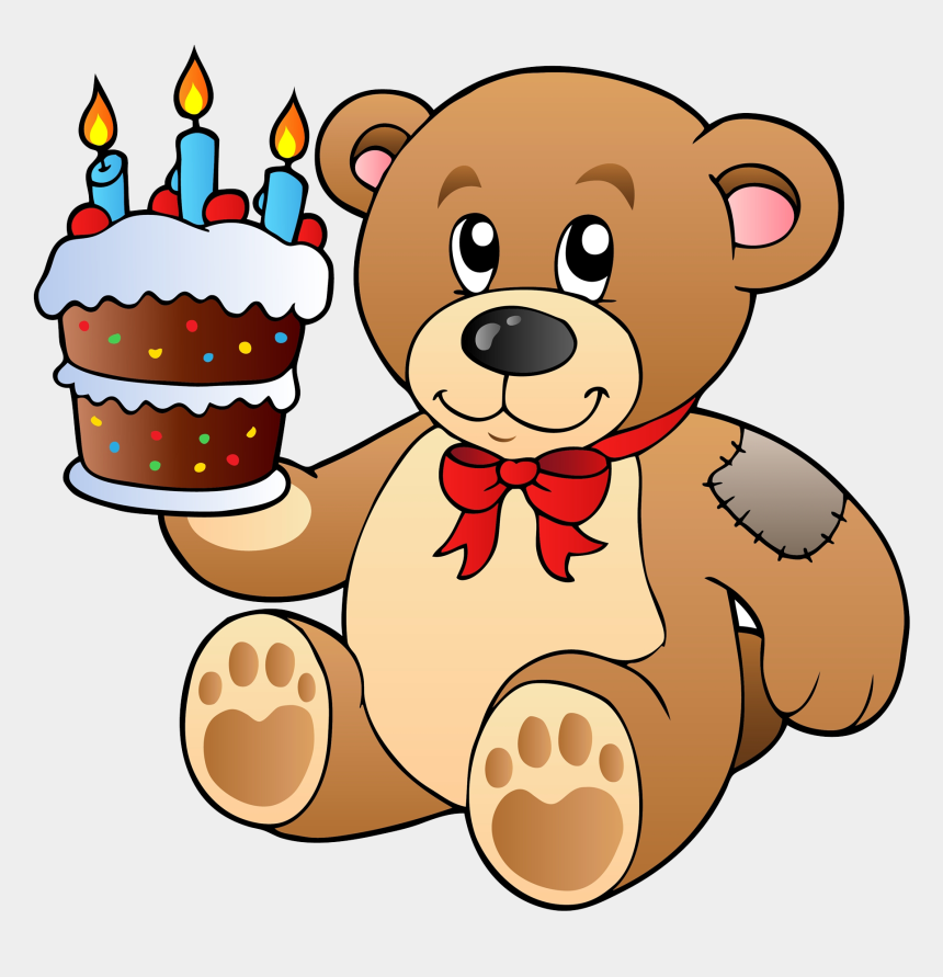 teddy bear clipart, Cartoons - Birthday Cake Teddy Bear Clip Art - Teddy Bear With Cake Png