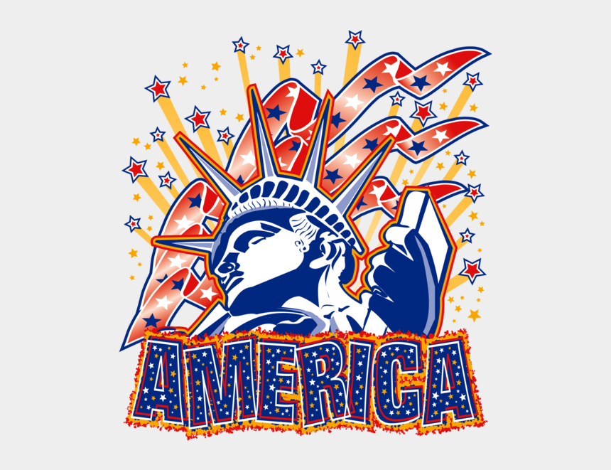 statue of liberty clipart, Cartoons - Statue Of Liberty Fireworks And America T-shirt, A80002