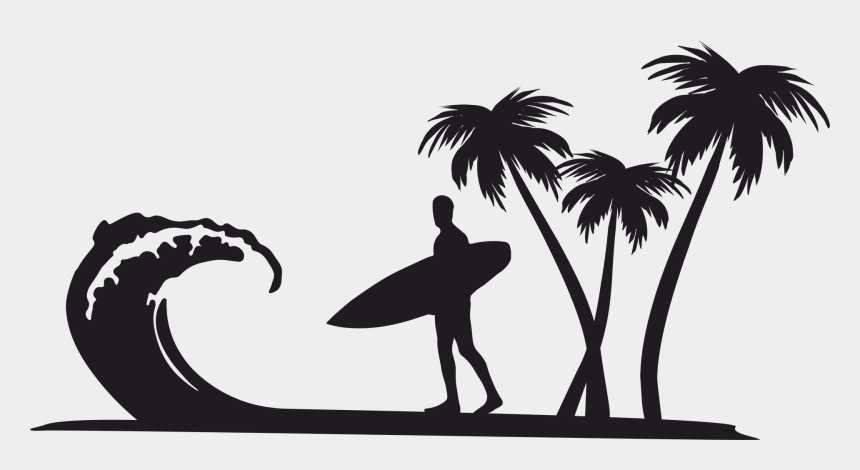 palm trees clip art, Cartoons - Palm Tree Clipart Surfboard - Surf Silhouette Png