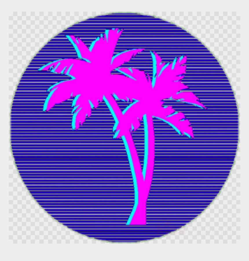 Vaporwave tropical. Palm tree clipart trees