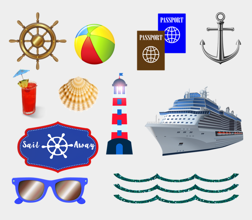 cruise ship clipart, Cartoons - Ocean Cruise Ship Passport Sea Cruise Travel Boat - Transparent Background Cruise Clip Art