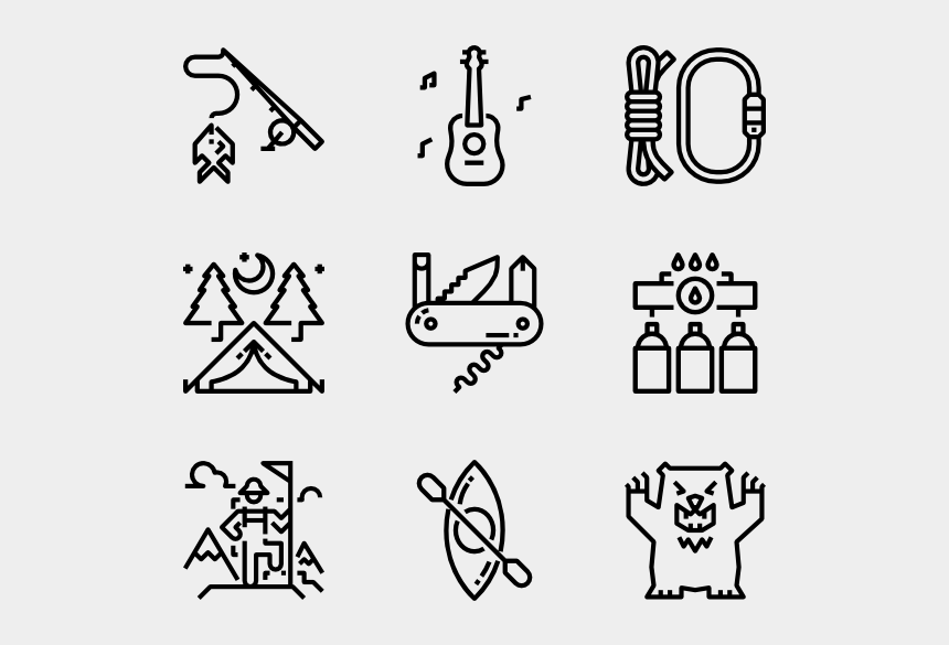 campfire clipart black and white, Cartoons - Vector Campfire Outline - Sports Black And White Png