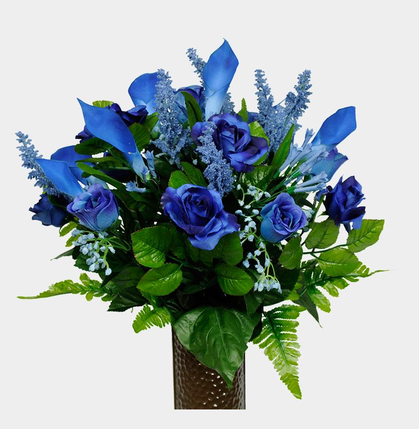 flower vase clipart, Cartoons - Flower Arrangement For Cemetery Vase - Blue Flowers In A Green Vase